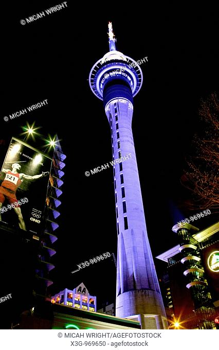 An artistic view of Auckland's tallest building, the Auckland skytower. North Island, New Zealand