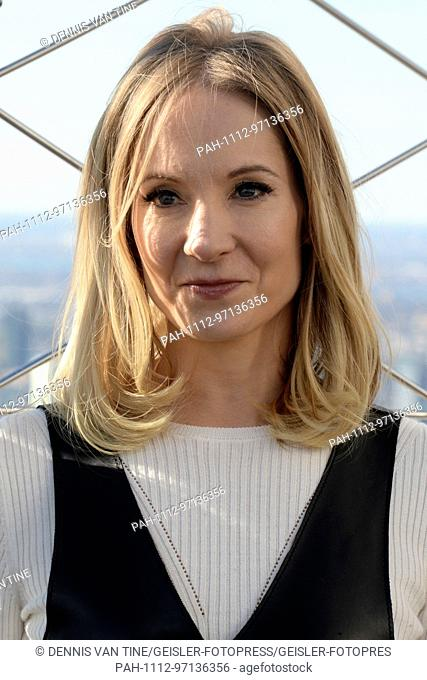 Joanne Froggatt attends the 'Downton Abbey: The Exhibition' photocall on the Empire State Bulding on November 17, 2017 in New York City