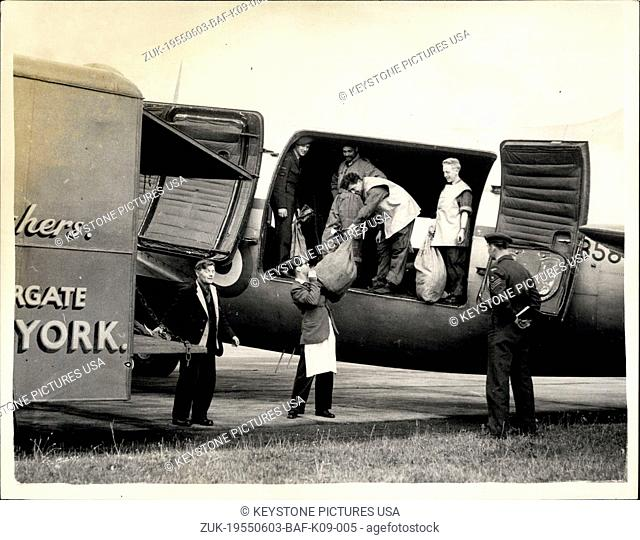 Jun. 03, 1955 - The Rail Strike. R.A.F. Transport Used To carry mails To The North: Owing to the rail strike - R.A.F. Transport Aircraft are being used in some...