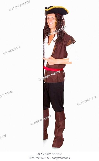 Young Pirate Pointing At Blank Placard
