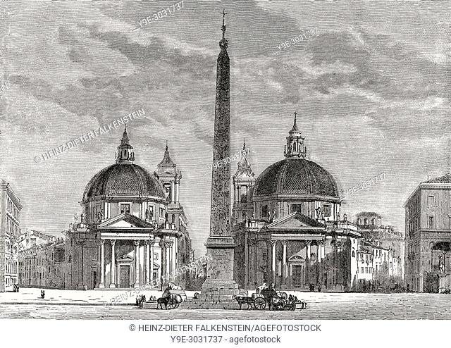 Piazza del Popolo, Santa Maria del Popolo, Rome, Italy, 19th Century