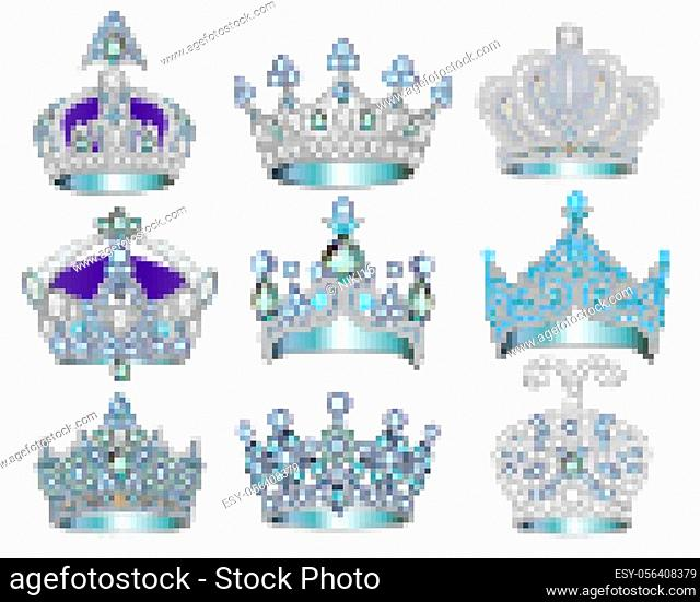 Illustration set of jewelry silver crowns with precious stones