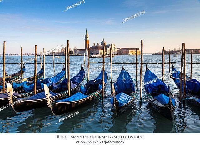 San Giorgio Maggiore with gondolas in the foreground, Venice, Italy, Europe