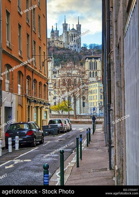 view along Rue dÕAmboise to Notre Dame de Fourviere Basilica, Lyon, Auvergne-Rh™ne-Alpes, France