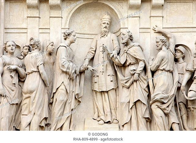 Marriage of Joseph and Mary, Loreto church sculpture, Prague, Czech Republic, Europe