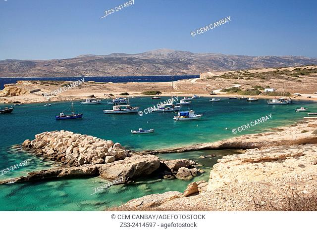 Fishing boats inside the harbour, Koufonissi, Cyclades Islands, Greek Islands, Greece, Europe