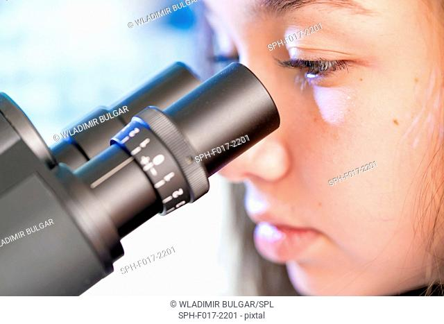 MODEL RELEASED. Girl using microscope, close up