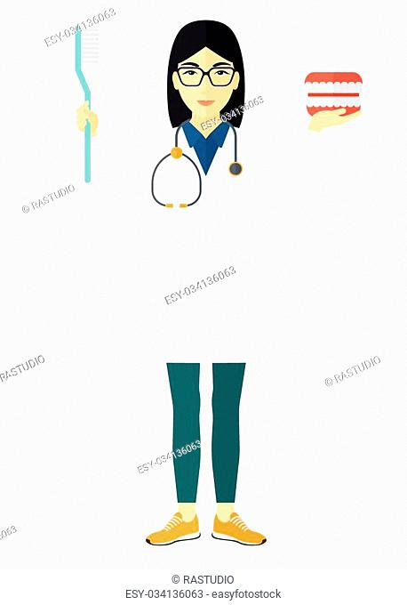 An asian dentist with a dental jaw model and a toothbrush vector flat design illustration isolated on white background