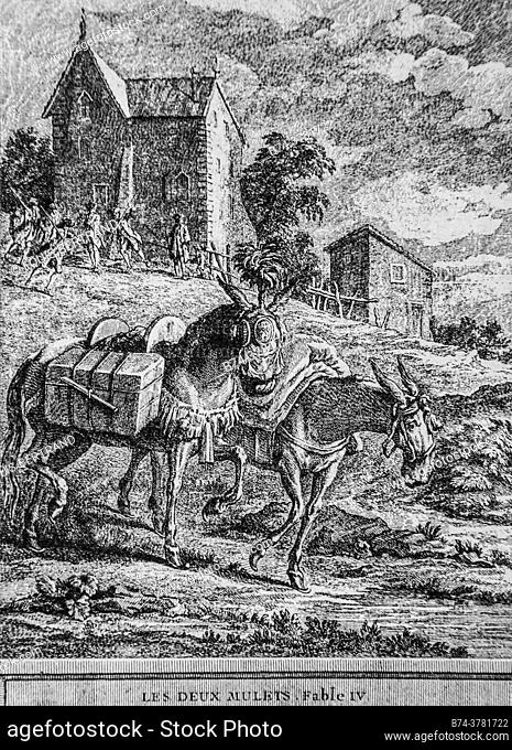 the two mules, fables of the fountain, publisher talan, dier 1904, drawing by j. b. oudry