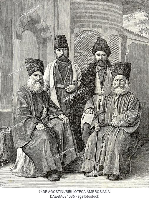 Armenian men wearing traditional costumes, Turkey, from L'Illustrazione Italiana, Year XXII, No 47, November 24, 1895