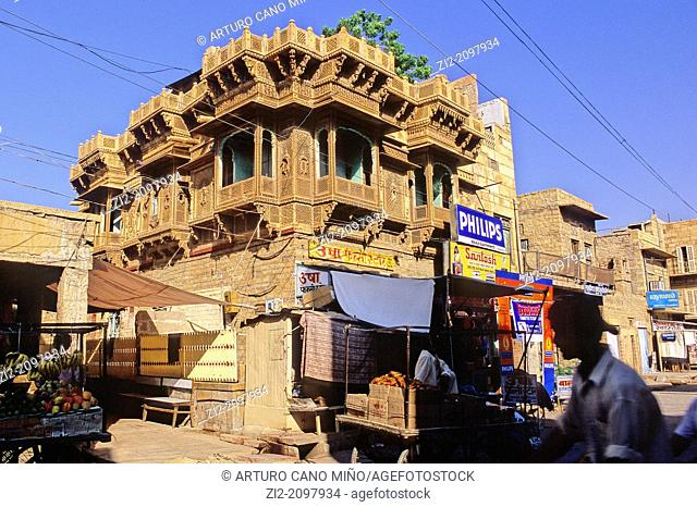 Haveli, traditional mansion. Jaisalmer, Rajasthan state, India