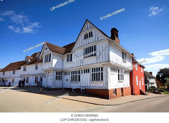 England, Suffolk, Lavenham. The Guildhall of Corpus Christi, a timber framed building which now houses a local history museum