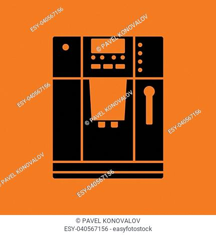 Kitchen coffee machine icon. Orange background with black. Vector illustration