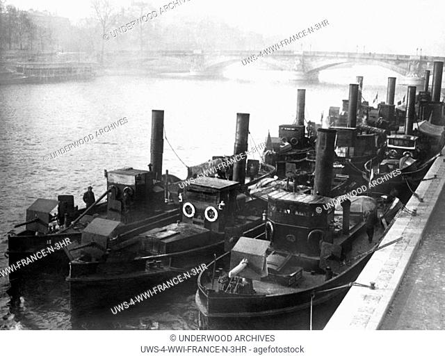 Paris, France: January 21, 1915 Armored tug boats guard the River Seine from possible attacks by German forces