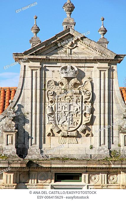 Coat of arms at State run hotel in Santo Estevo Monastery, Ourense, Galicia, Spain