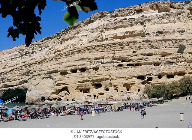 famous Matala beach on Crete, Greece