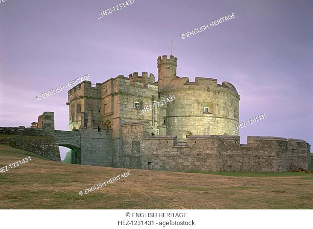 Pendennis Castle, Cornwall, at night, 1997. The original part of the castle, seen here at night, consisted of the keep which provided a series of gun platforms...