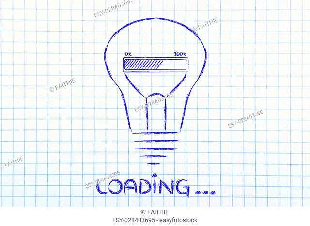 Loading, progress bar inside a lightbulb: concept of idea loading, brainstorming and developing an innovation