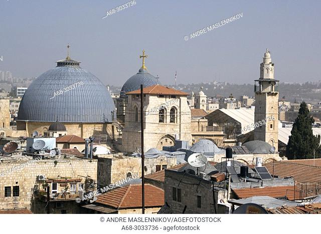 Church of the Holy Sepulchre in Jerusalem, seen from Bilda, the Swedish Christian Study Centre roof top