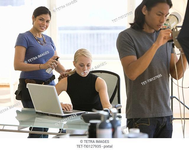 Business photo shoot in studio