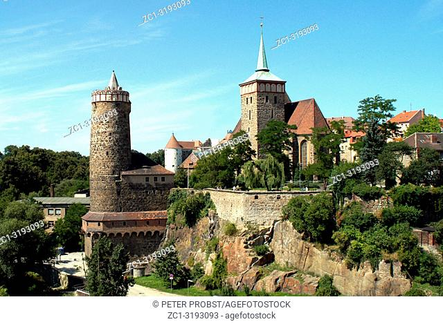 Old Town of Bautzen in Saxony with the Old Waterworks and Church Saint Michael - Germany