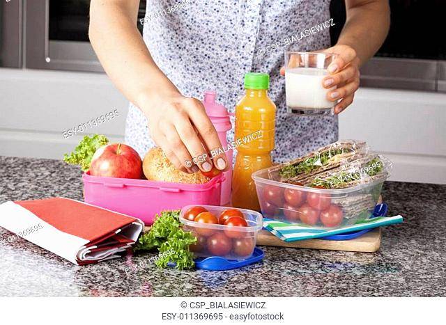 Mother preparing lunch box