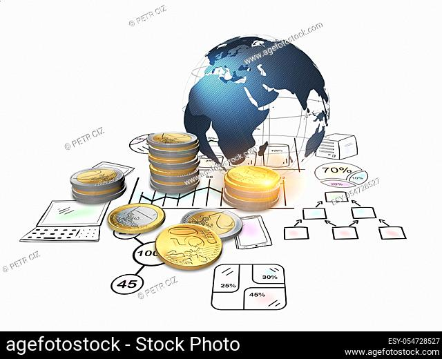3D rendering, The global economy with sketches and euro coins financial concept. Financial data in the global economy