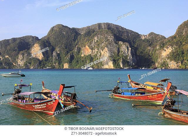 Thailand, Krabi, Phi Phi Don Island, landscape, scenery, boats,