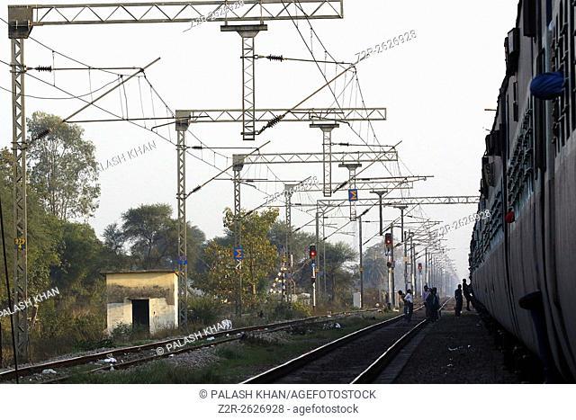 India 12 February 2016. Railway tracks and overhead electric polesin Ajmer