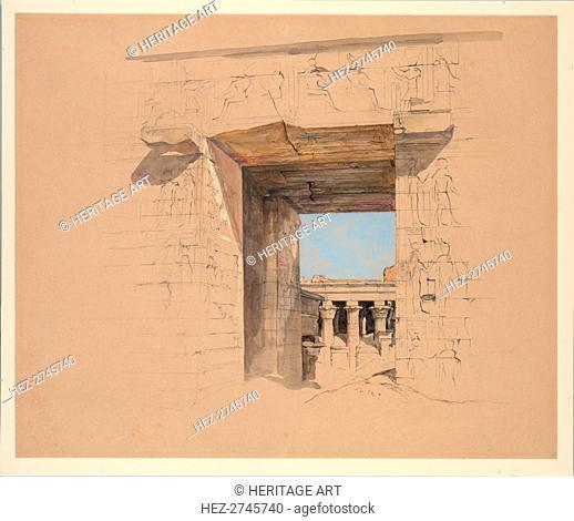The Temple of Edfu: The Door of the Pylon, 1850. Creator: John Frederick Lewis (British, 1805-1876)