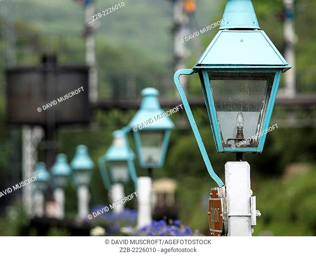 Vintage platform lights at Grosmont station on the North Yorkshire Moors Railway, near Whitby, North Yorkshire, UK