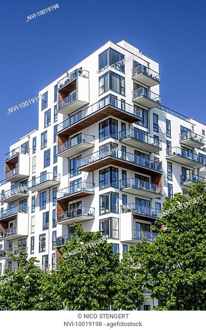 Stævnen, modern apartment house, by Vilhelm Lauritzen architects, district Oerestad, Amager, Copenhagen, Denmark, Scandinavia, Europe
