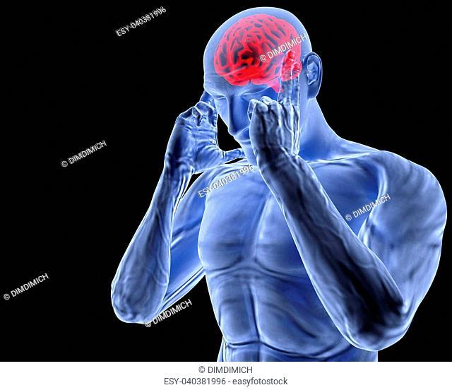 a man with a headache under x-ray
