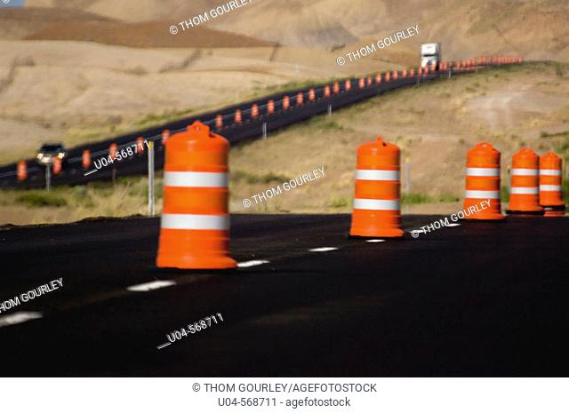 Traffic cones on Interstate 70 near Crescent Junction, Utah. USA