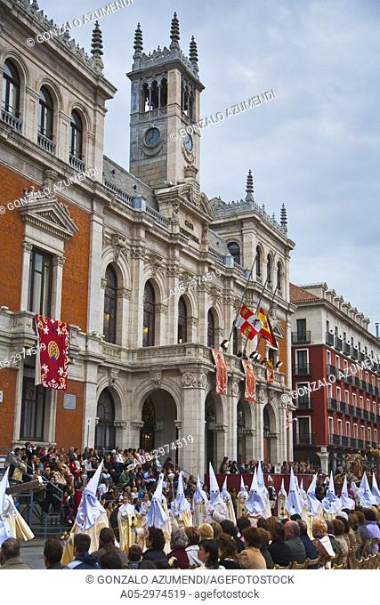 Holy Week, Town hall at Plaza Mayor square. Valladolid, Castilla y Leon, Spain