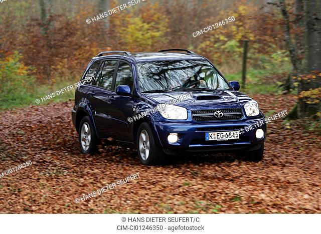 Car, Toyota RAV4 D-4D, cross country vehicle, model year 2004-, blue moving, diagonal from the front, frontal view, country road, Herbst, Foliage