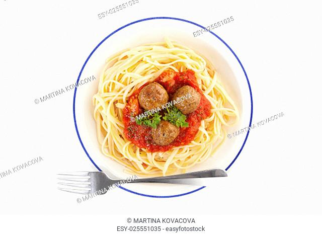 Pasta with tomato sauce and meatballs. Traditional mediterranean eating