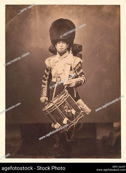 [Grenadier Guards Drummer]. Artist: Joseph Cundall (British, Norwich, Norfolk 1818-1895 Wallington, Surrey); Date: ca. 1856; Medium: Salted paper print from...