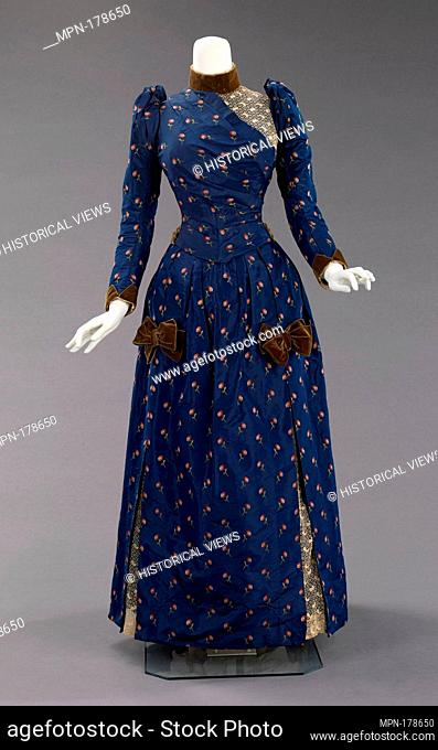 Afternoon dress. Date: ca. 1888; Culture: American; Medium: silk, linen, cotton; Credit Line: Brooklyn Museum Costume Collection at the museum