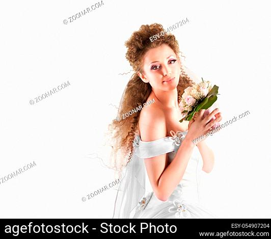 Portrait of a beautiful woman dressed as a bride isolated on white background