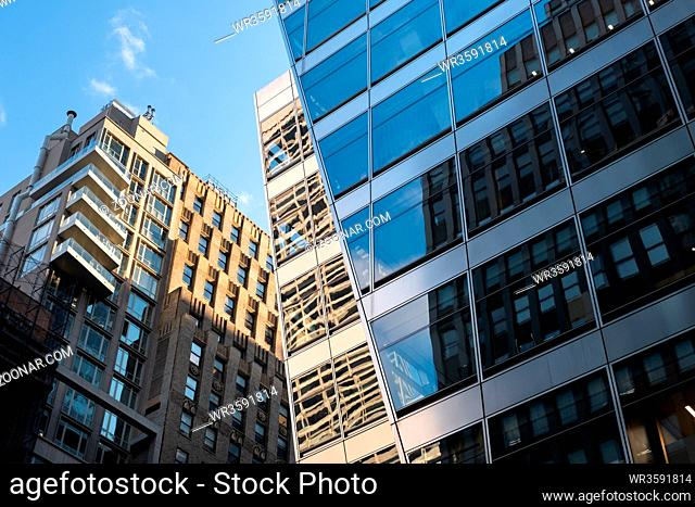 New York City - USA - DEC 26 2018: Perspective view to facade fragment of a modern building around Bryant Park Manhattan