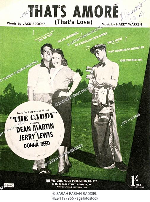 Sheet music for That's Amore from film 'The Caddy', c1953. Film starred Dean Martin and Jerry Lewis