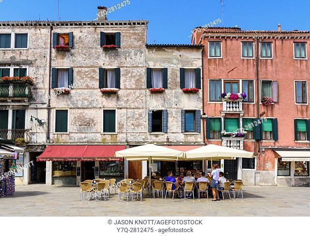 Cafe in the Campo San Barnaba, Dorsoduro, Venice, Veneto, Italy