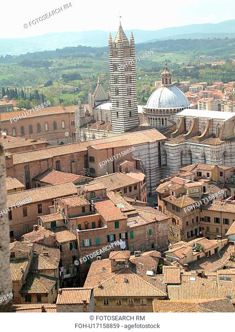 Siena, Italy, Tuscany, Toscana, Europe, Aerial view of the Duomo Campanile and the city of Siena from Torre del Mangia