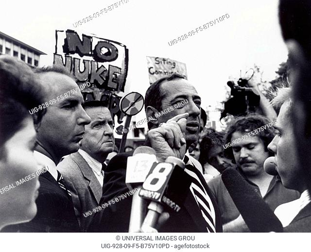 New York State, Alfred. New York State Governer Mario Cuomo Speaking At Anti-Nuclear Dump Protest