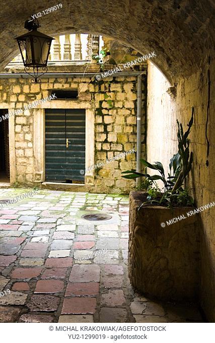 Street of old town of Kotor, Montenegro