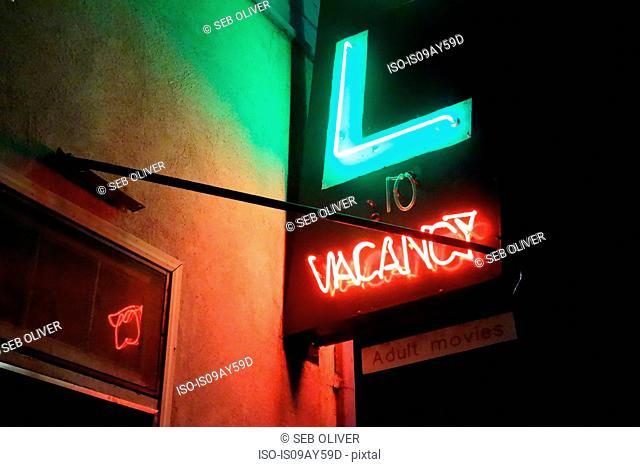 Illuminated 'vacancy' sign