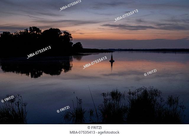 Oder River, Brandenburg, Germany, sunset