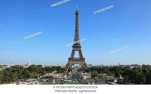 The Eiffel Tower and Trocadero Gardens in Paris