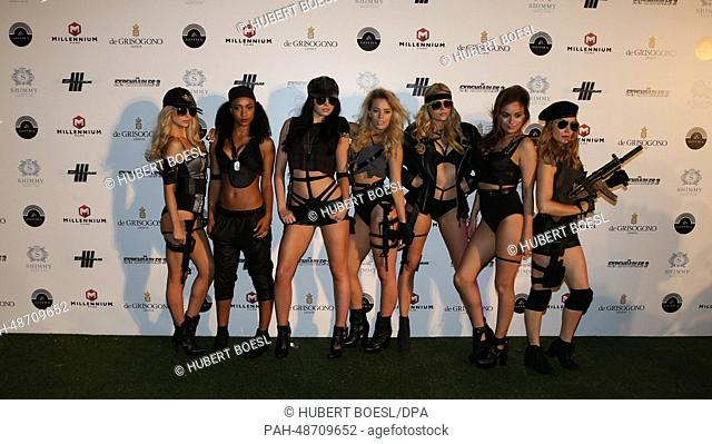 """Showgirls attend the party of """"""""Expandables 3"""""""" during the 67th Cannes International Film Festival at Gotha Night Club at Palm Beach in Cannes, France"""